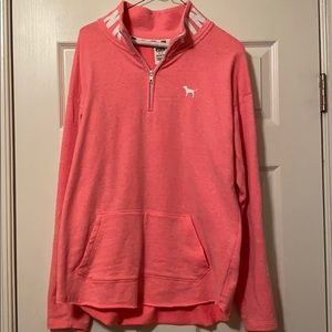 Pink quarter-zip pull over